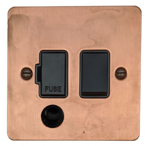G&H FTC56B Flat Plate Tarnished Copper 1 Gang Fused Spur 13A Switched & Flex Outlet
